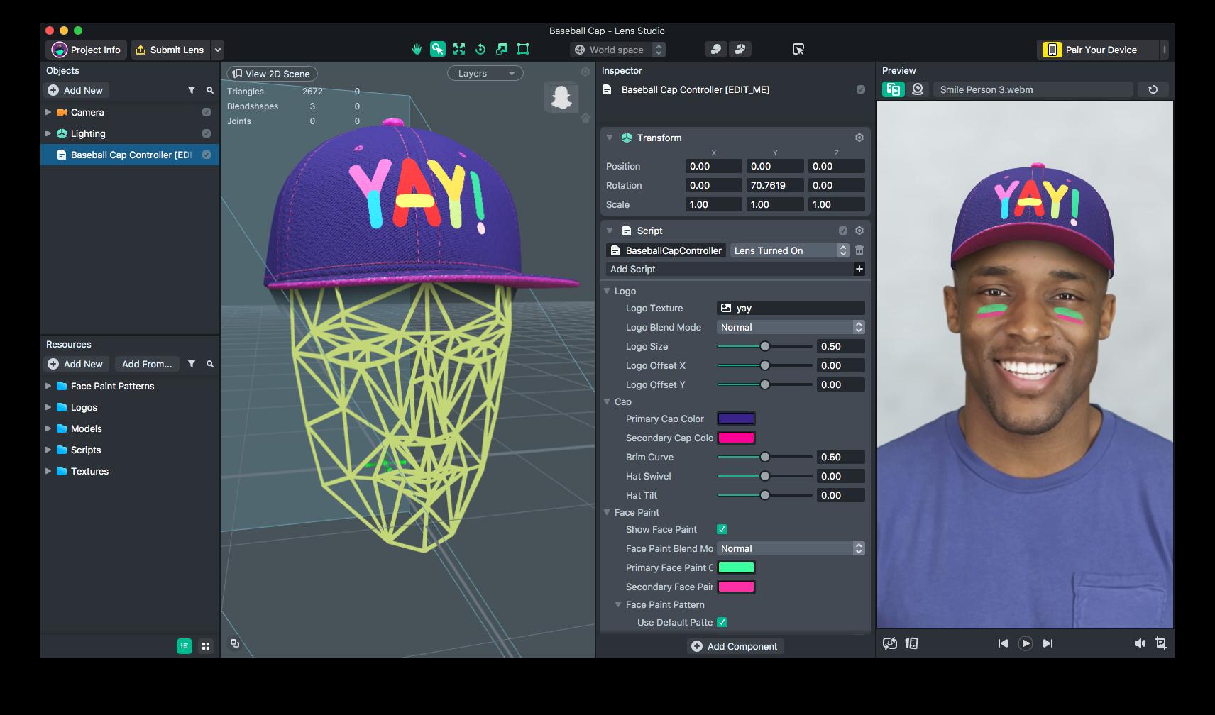Capture d'écran de l'outil de Snapchat Lens Studio