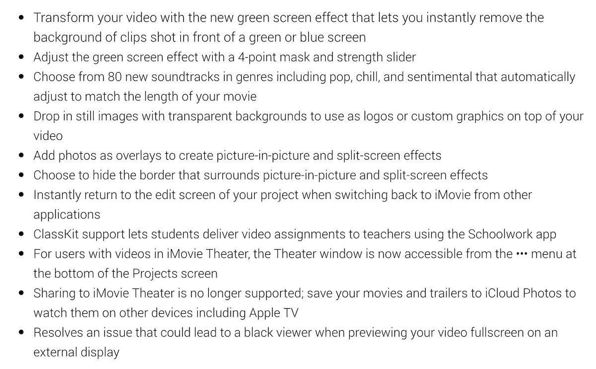 liste des nouveautés iMovie