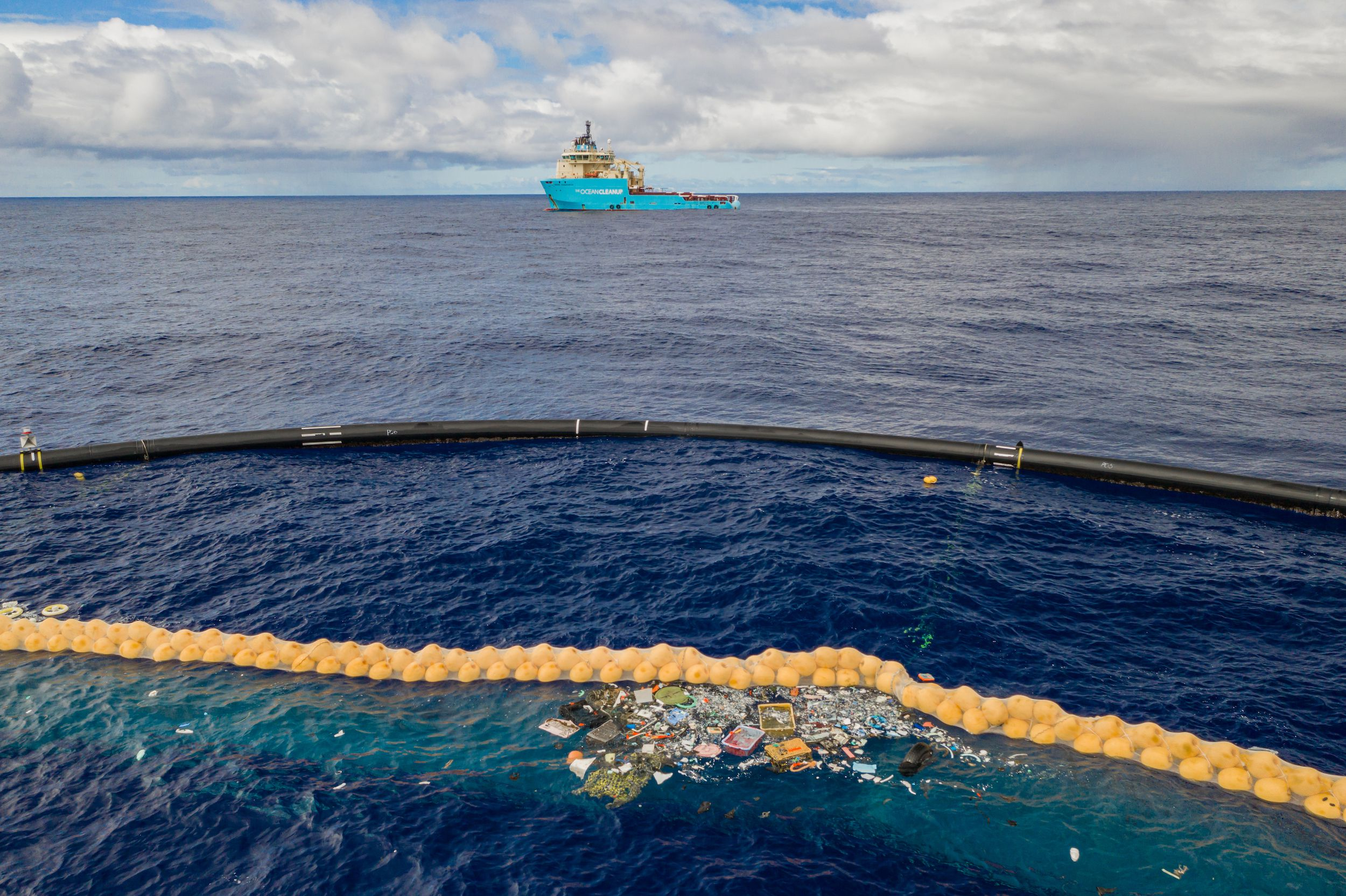 Dispositif mis en place par The Ocean Cleanup