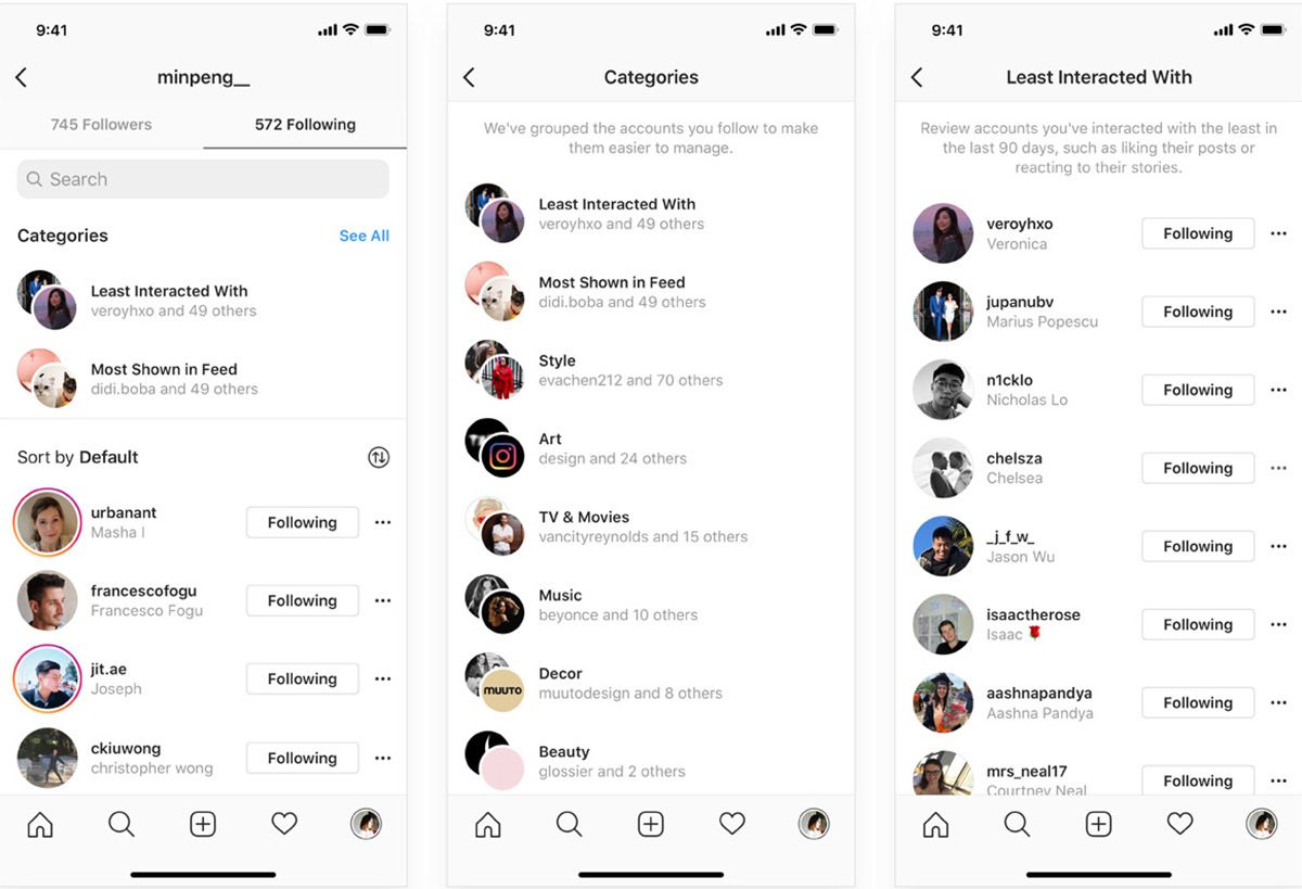 Instagram : l'interface qui permet de trier votre liste d'abonnements.