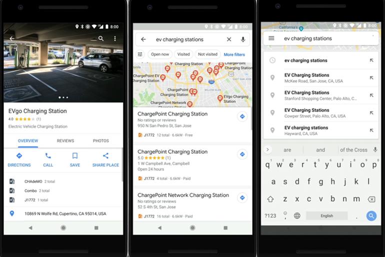 Google Maps indique désormais l'emplacement des bornes de recharge les voitures électriques