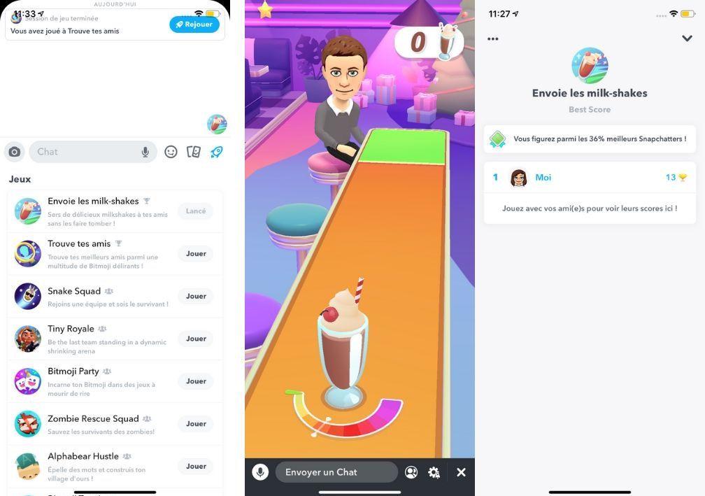 aperçu des nouveaux jeux de Snapchat