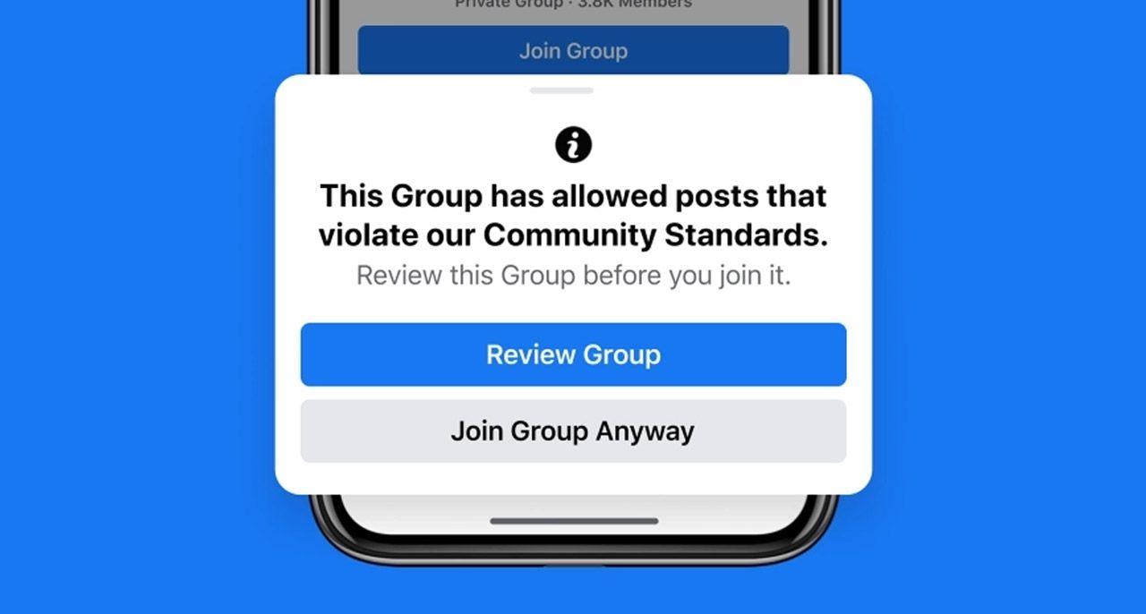 Capture d'écran du message d'alerte que pourront voir apparaître les utilisateurs de Facebook avant de rejoindre un groupe au comportement suspect.