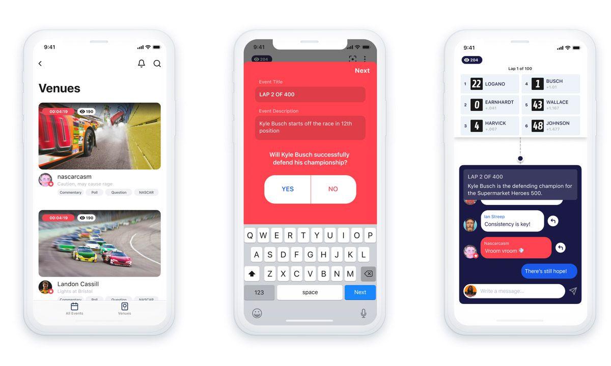 Trois smartphones présentant les différentes interfaces de l'application venue.
