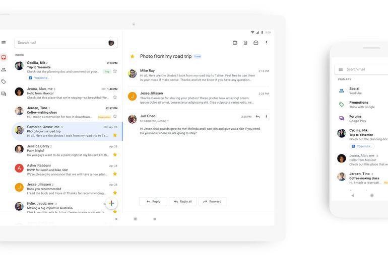 photo présentant le nouveau design de l'application Gmail