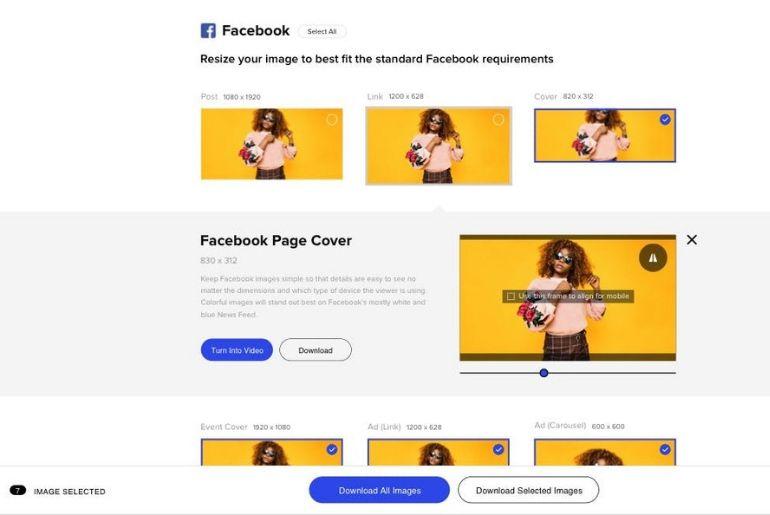 Cet outil vous permet de redimensionner en un clic vos images en 50 tailles standards du web et des réseaux sociaux