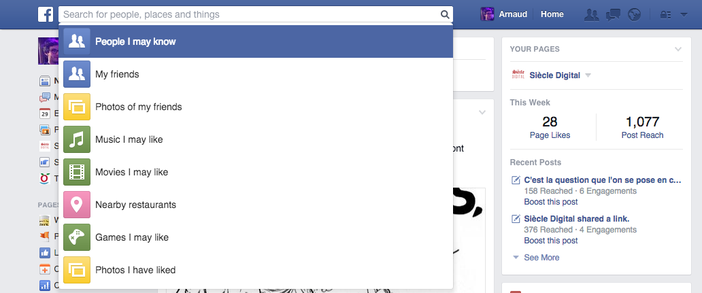 Facebook te donne un échantillon de recherche de base (mais tu peux aller plus loin)