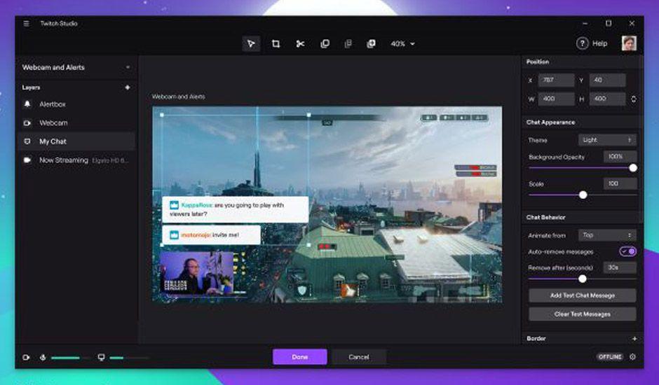 Aperçu des nouvelles fonctionnalités Twitch Studio.